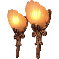 Regal Pair Deco Slip Shade Wall Sconces Vintage 1930s from ...