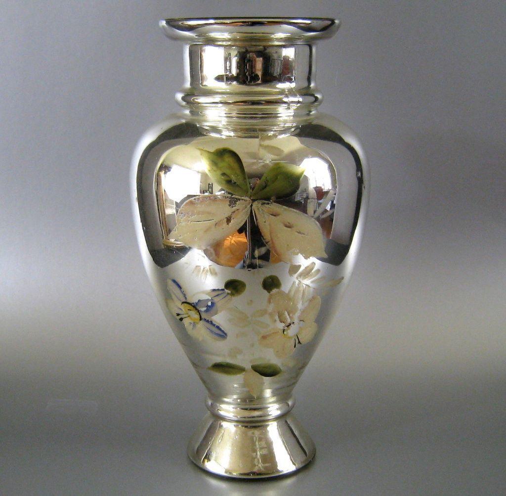 "Antique Mercury Glass Vase Hand Painted Flowers 10.5"""