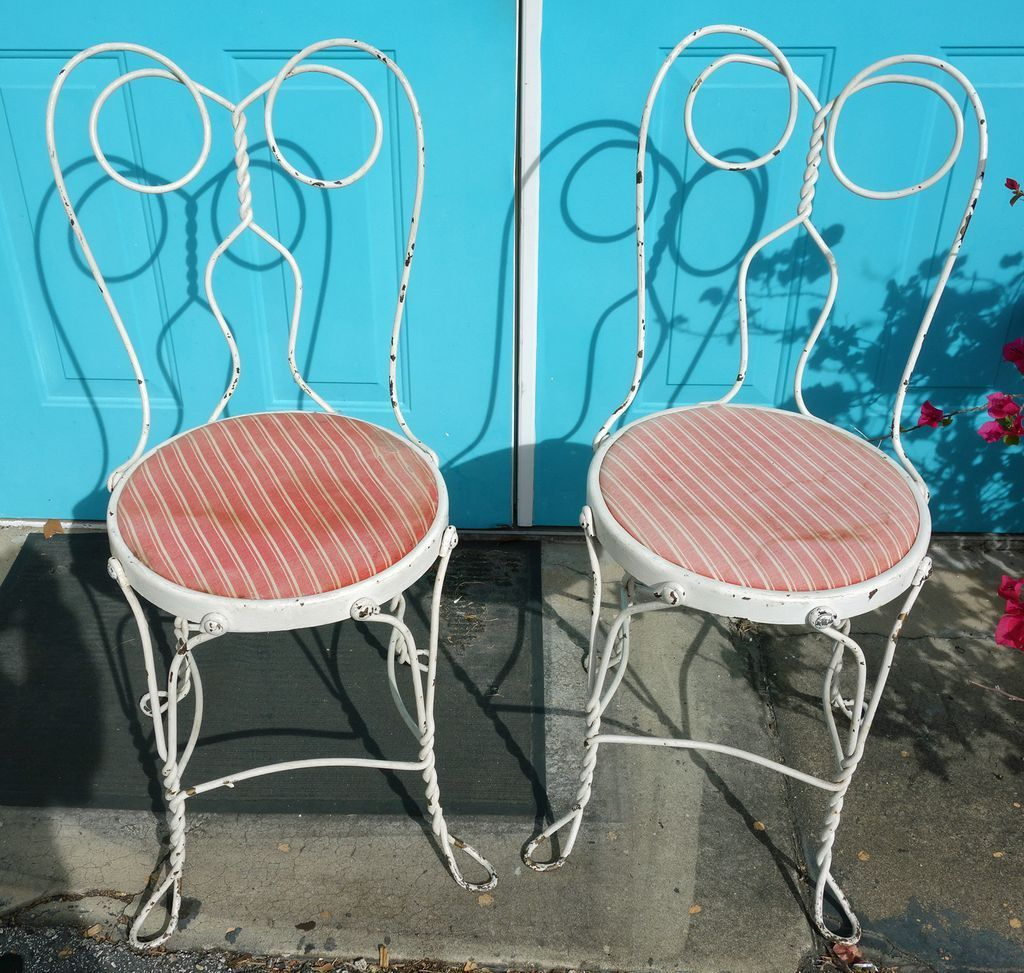 ice cream parlor chairs office chair armrest cushion pair of vintage from rubylane sold