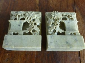 Antique Chinese Carved Soapstone Bookends from historique ...