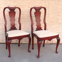 Queen Anne Style Chairs Chair Feet Protectors Pair Of Red Paint From Blacktulip