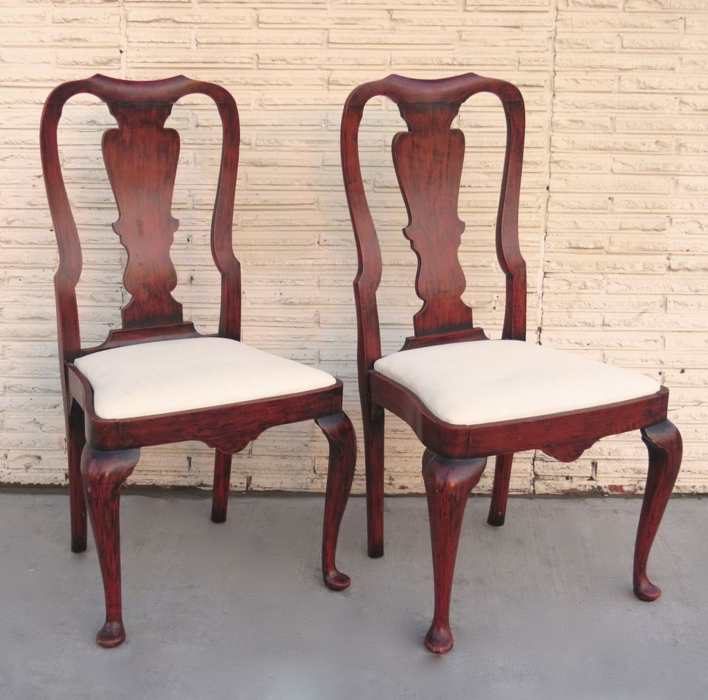 Queen Chairs Pair Of Queen Anne Style Chairs Red Paint From Blacktulip