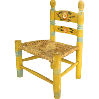 Vintage Mexican Painted Child's Chair Yellow Floral from