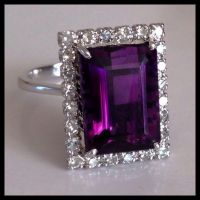 Retro Diamond Vivid Purple Amethyst 14K White Gold Vintage ...