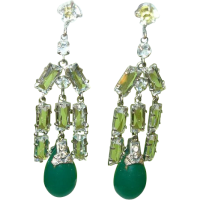 Diamond Earrings: Fake Emerald And Diamond Earrings