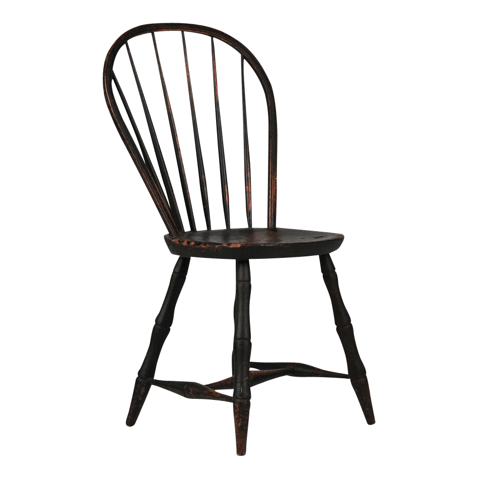 American painted bowback antique windsor chair early 19th century