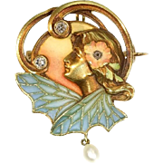 Art Nouveau gold enamel brooch