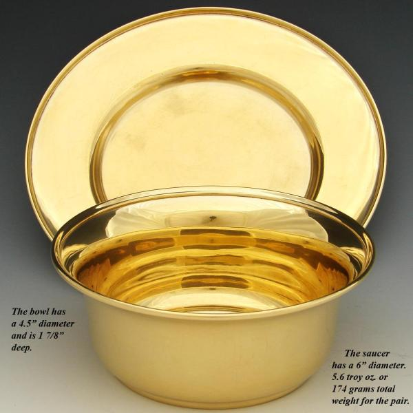 Antique Vermeil 14-18k Gold Sterling Silver Bowl