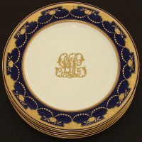 "Set of Six Antique Minton 10"" Dinner Plates, Cobalt ..."