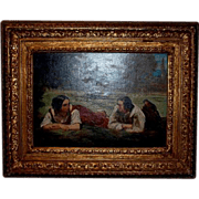 19 th Century French Oil on Canvas Jean Michel Groban