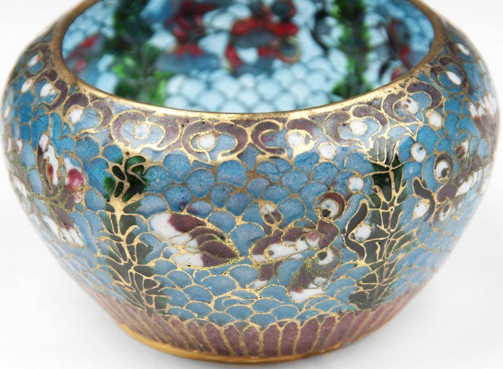 Japanese Plique A Jour Cloisonne Enamel Bowl From