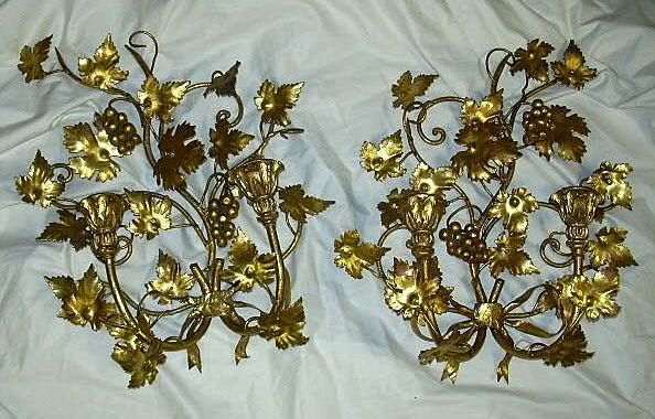 Pair Italian Florentine Gold Gilt Wall Sconces