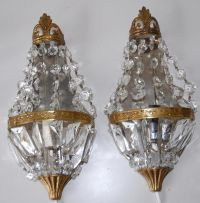 Pair French Vintage Bronze & Crystal 1-light Wall Sconces ...