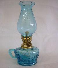 Aqua Blue Miniature Oil/Kerosene Lamp Made in Hong Kong ...