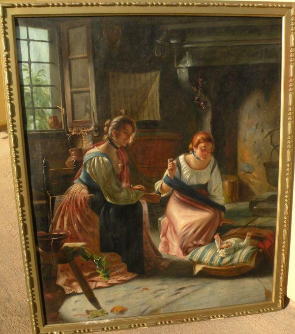 Antique Copy Of 19th Century European Interior Genre