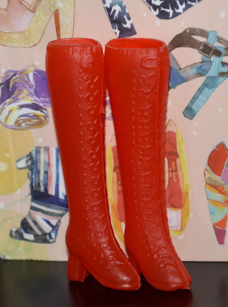 1960s Barbie Tall Tomato Red - Boots