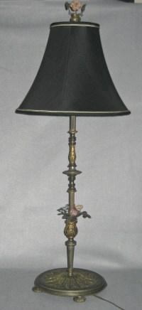 Vintage Tall Stick Lamp with Porcelain Flowers - ornate ...