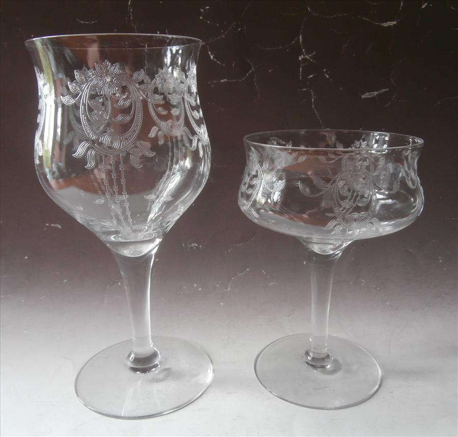 1910s Etched Crystal Stemware Antique Transitional Tlc