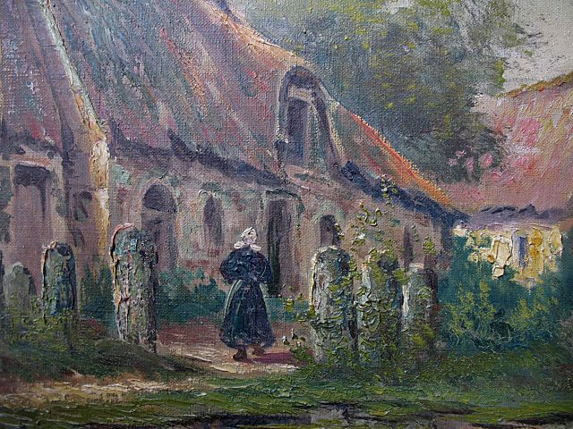Antique Late 19th C Century LARGE French School Oil Painting Brittany From Nicole La Bay On Ruby