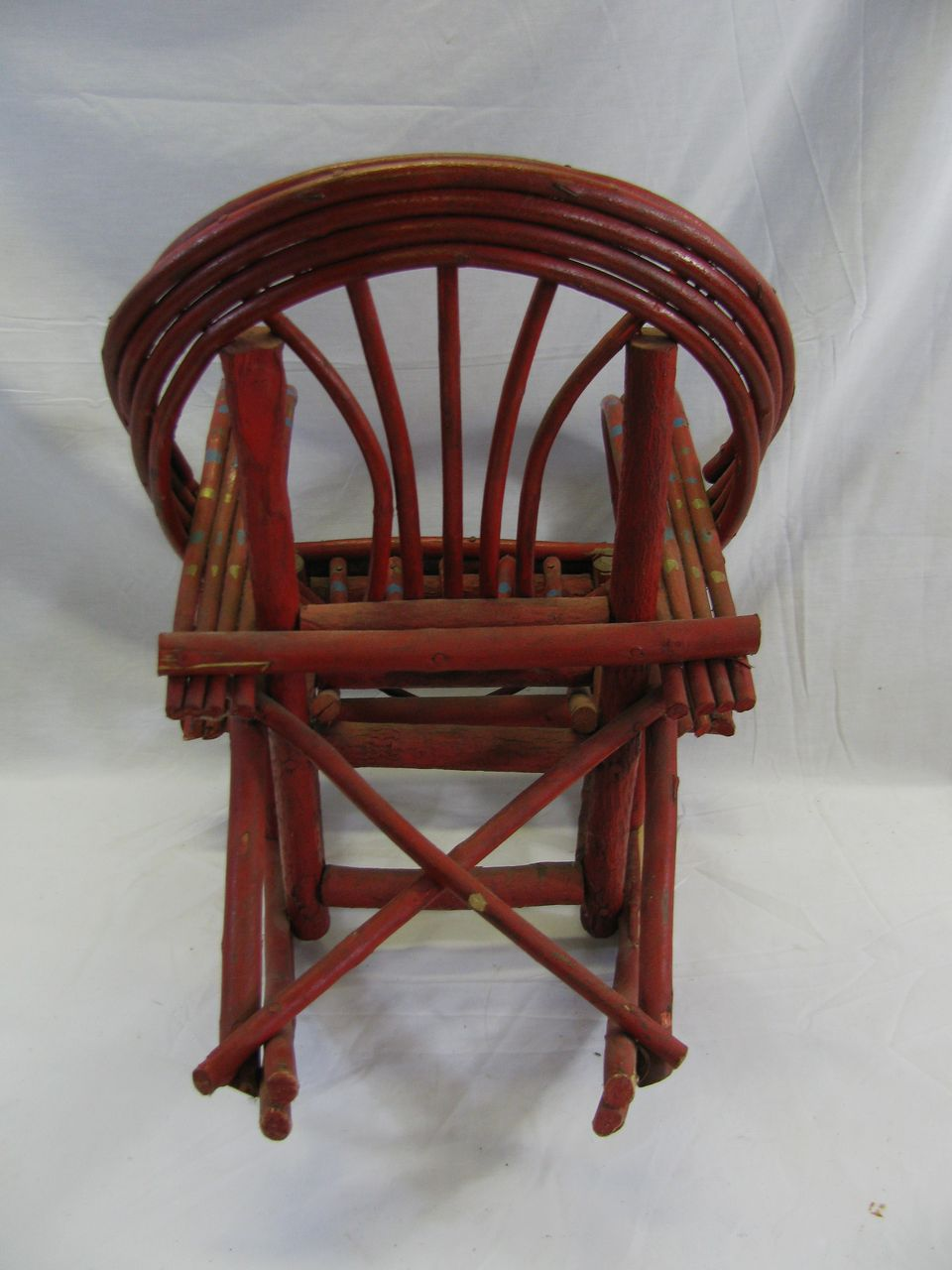 horseshoe rocking chair massage for therapist outstanding painted child's adirondack willow from north2southantiques on ruby lane