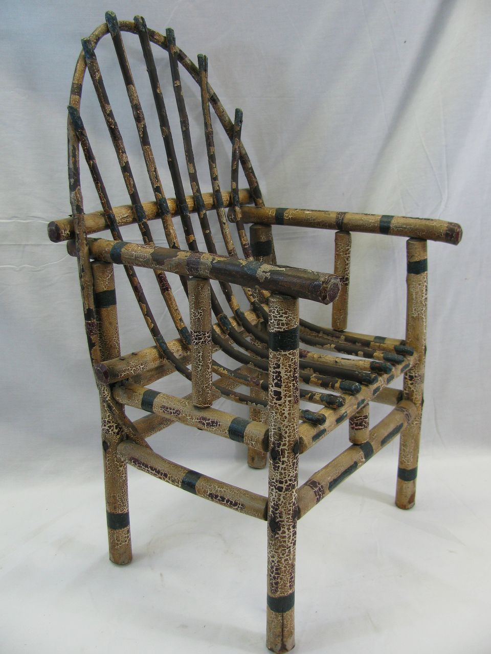 Antique Painted Childs Adirondack Willow Chair from