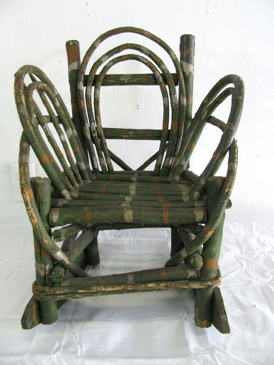 horseshoe rocking chair booster or high vintage folk art painted child's twig from north2southantiques on ruby lane