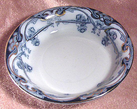 Royal Staffordshire Pottery Flow Blue Iris Pattern Berry