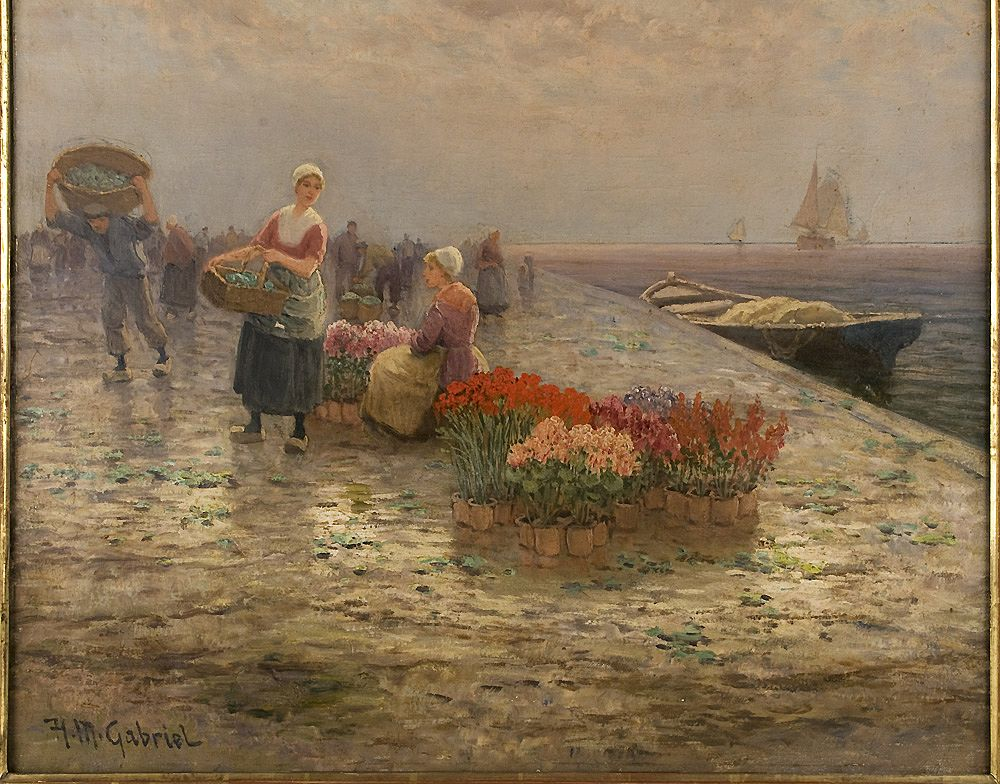Dutch Oil Painting Of Flower Sellers On Quay By H M