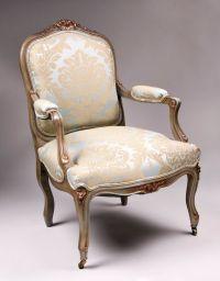 Pair of 19th C. Painted Louis XV Fauteuils a la Reine or ...