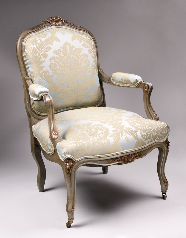 Pair of 19th C Painted Louis XV Fauteuils a la Reine or