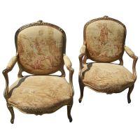 Pair of Louis XV gilt fauteuil, armchair w/ Aubusson style ...