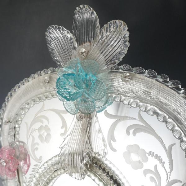 Large Venetian Art Glass Beveled Mirror Vanity Table Wall