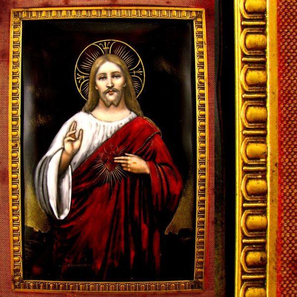 Large Antique French Limoges Enamel Portrait Jesus Christ