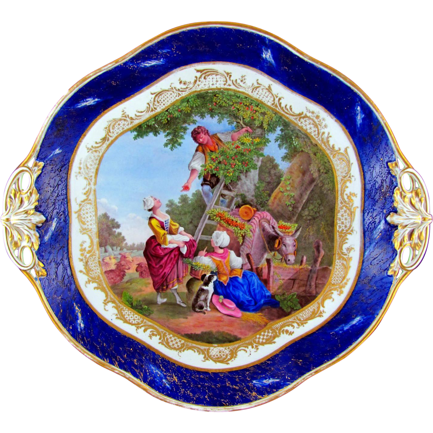 Antique French Sevres Porcelain Plate Hand Painted Scene
