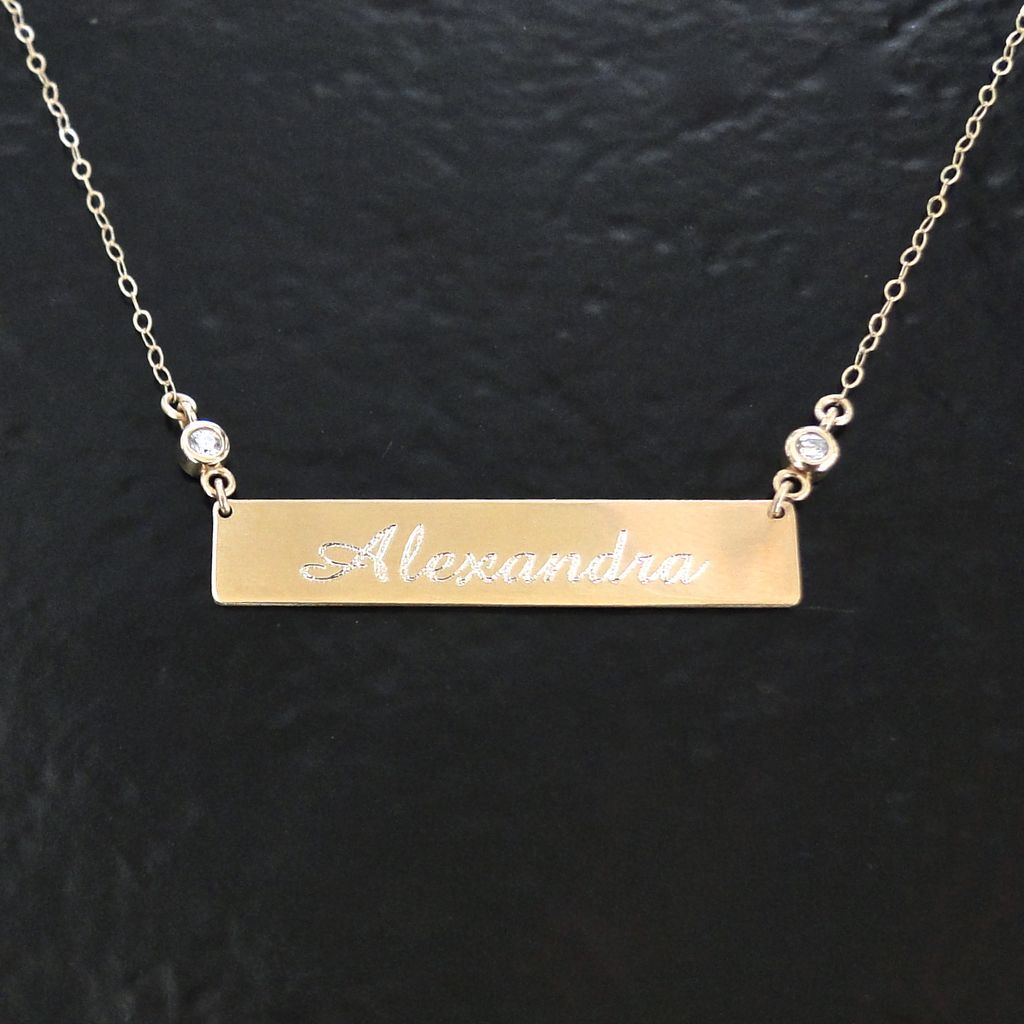 Engrave - 14k White Gold Nameplate Necklace Personalized Theresaminkdesign