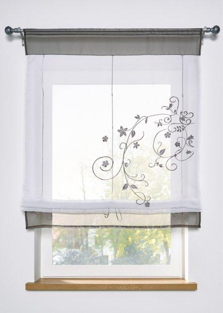 Trattandosi di finestre piccole, però, ti consigliamo tessuti leggeri come l'organza e il cotone. Tenda A Pacchetto Con Laccetti Trasparente Con Ricami Colorati Grigio Coulisse