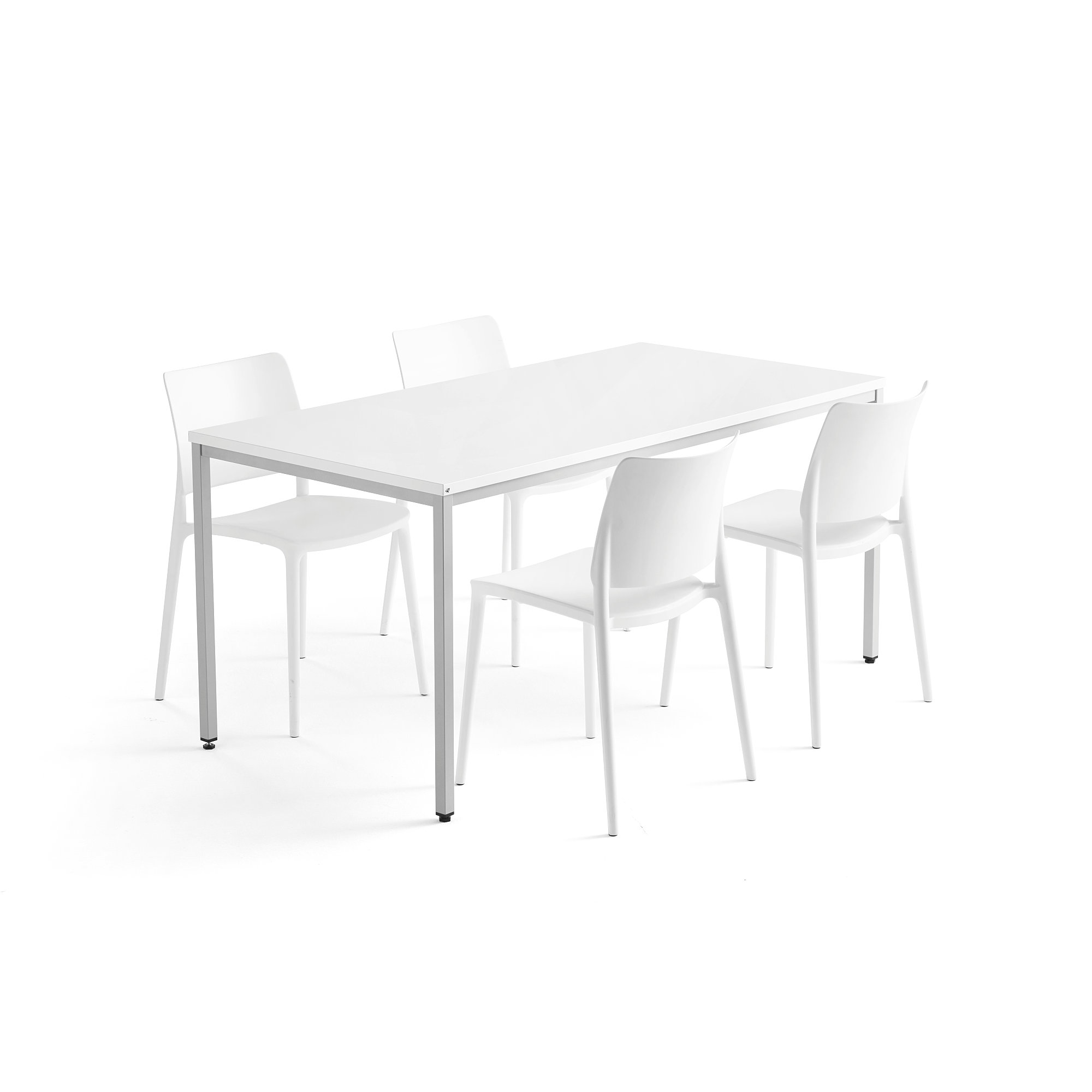 White Stackable Chairs Canteen Package Modulus Rio 1 Table And 4 White Chairs Aj Products Online