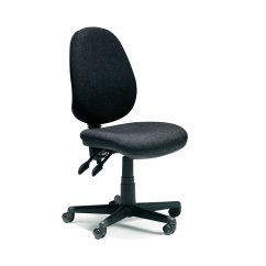 Ergonomic Chair No Armrests Commode Accessories Office Aldershot 2 Lever Black Fabric