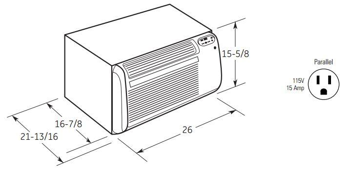 GE AJCQ12ACG Wall Air Conditioner Cooling Area, Adjustable