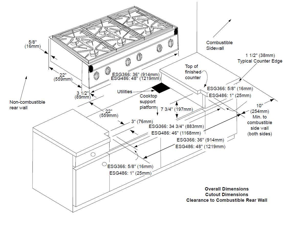 Dacor ESG366SBRLPH Renaissance Series Gas Sealed Burner