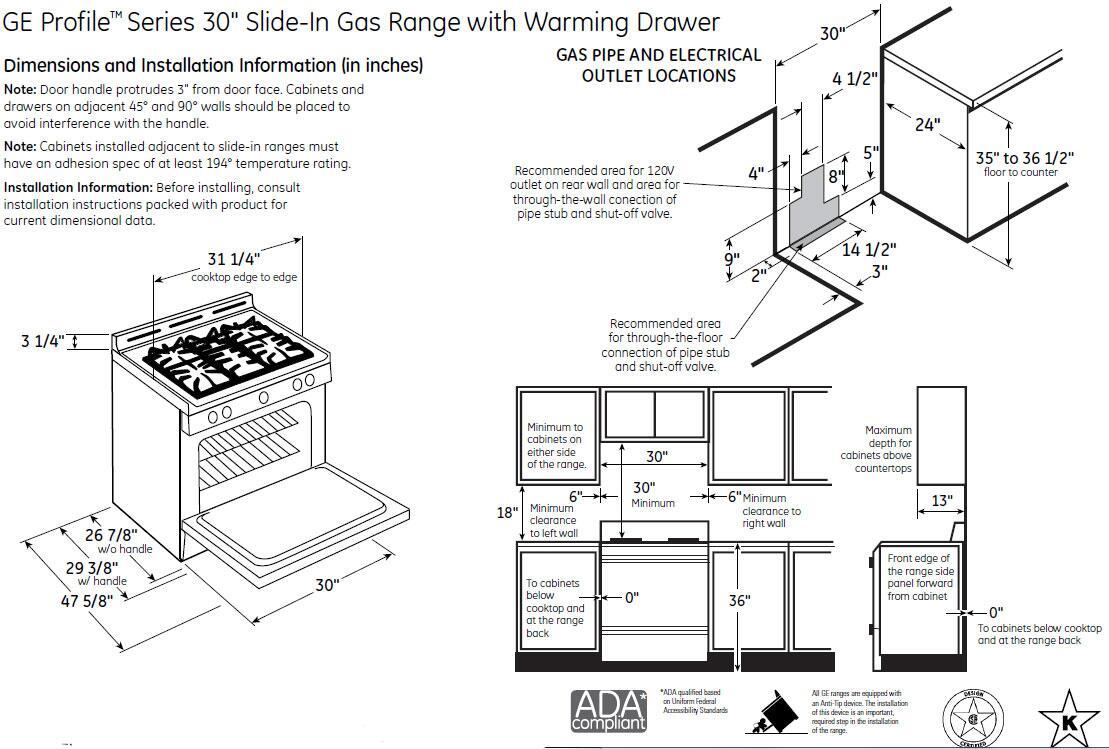 GE Profile PGS920SEFSS 30 Inch Profile Series Slide-in Gas