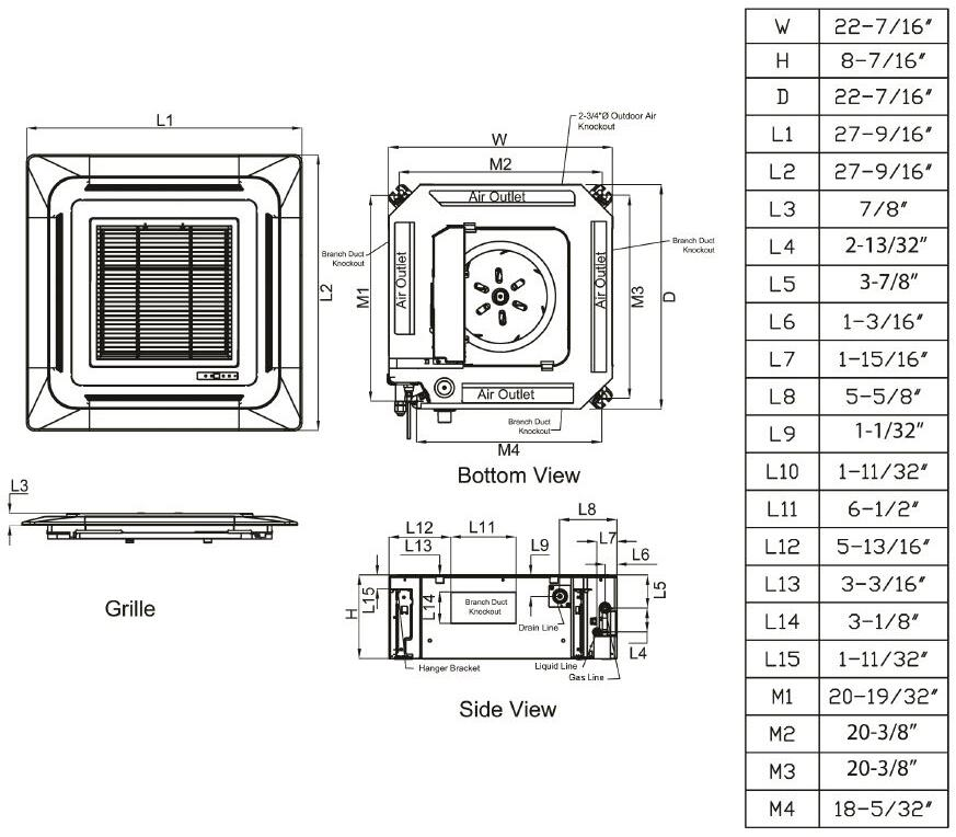 LG LMCN097HV Mini Split Air Conditioner Cooling Area