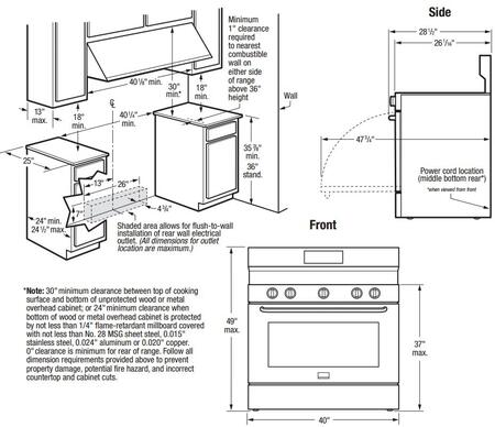 Frigidaire FGEF4085TS 40 Inch Freestanding Electric ranges