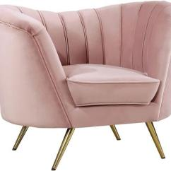 Velvet Armchair Pink Patterned Wingback Chair Meridian 622pinkc Margo Series Appliances Zoom In Main Image
