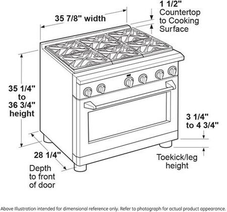GE Cafe CGY366SELSS 36 Inch Gas Freestanding Range, in