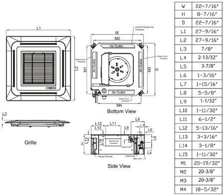 LG LMCN097HV 23 Inch Multi F Ceiling Cassette Indoor Mini