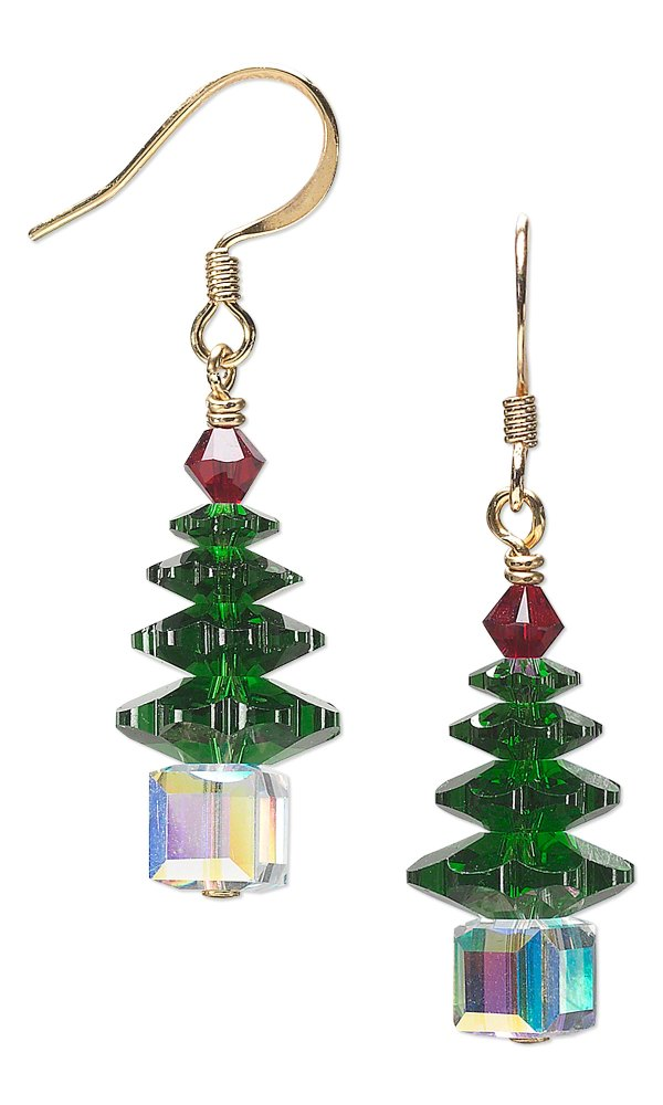 Jewelry Design Christmas Tree Earrings with Swarovski