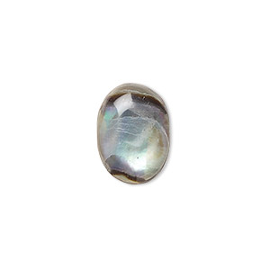 Cabochon, Abalone Shell (coated), 14x10mm Calibrated Oval, Mohs Hardness 3-1/2. Sold Per Pkg 6