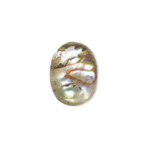 Cabochon, Abalone Shell (coated), 16x12mm Calibrated Oval, Mohs Hardness 3-1/2. Sold Per Pkg 4