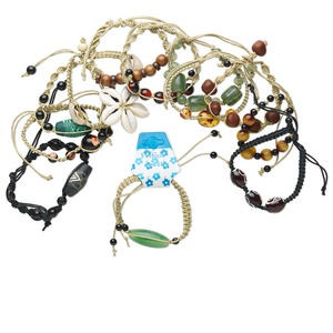 Bracelet Mix, Shell / Wood / Multi-gemstone (natural / Dyed) / Hemp / Cotton / Glass / Acrylic, Multicolored, Adjustable 5-1/2 7-1/2 Inches Knot Closure. Sold Per Pkg 12